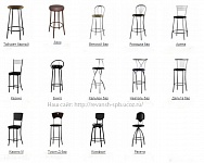 Барные, классические стулья, столы.